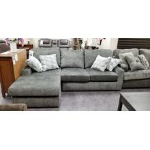 Dovely Loveseat with Chaise in Midnight with 4 pillows
