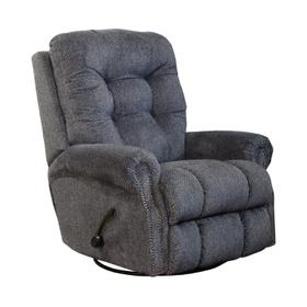 Pewter Swivel Nail Head Glide Recliner