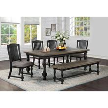 AVALON 1-D000511-DT, 4-D000511-DC, D000511-DB Homeplace Brushed Dark Oak and Black Painted 6-Piece Dinette- Table, 4 Chairs & Bench