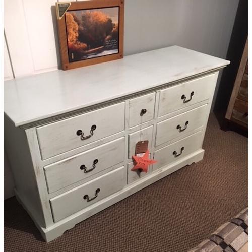 Nine-drawer dresser. Cottaged Sorbet finish,