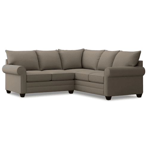 Bassett Furniture - Alex Roll Arm Small Sectional - Fog