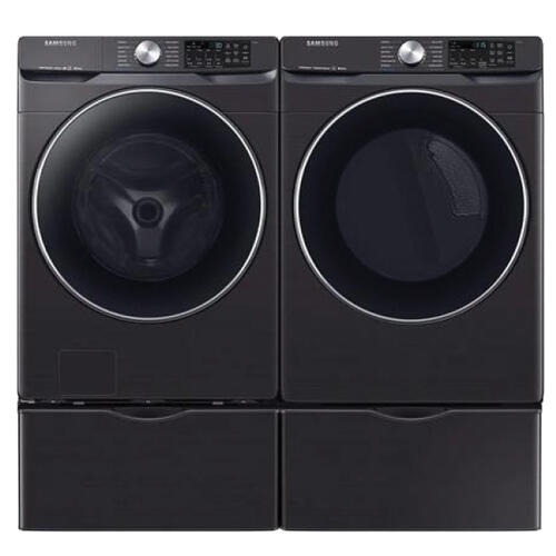 SAMSUNG Steam Sanitize 4.5 Cu.Ft. Front Load Washer & 7.5 Cu.Ft. Electric Dryer with Pedestals - Black Stainless