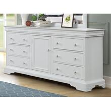 Versailles White 6 Drawer, 1 Door Dresser