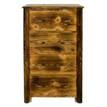 WCB707 Burnt Cabin Size 4-Drawer Chest with Antlers