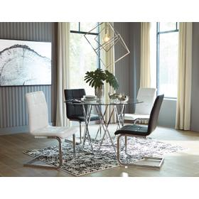 Madanere Table Chrome Finish W/ 2 Black & 2 White Chairs