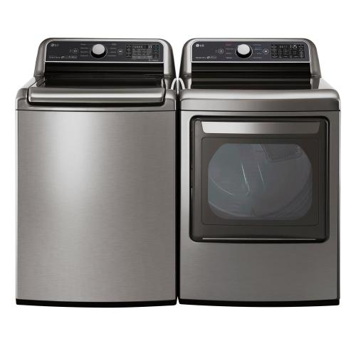 Packages - LG 5.0 cu. ft. HE Mega Capacity Smart Top Load Washer w/ TurboWash3D and Wi-Fi Enabled in Graphite Steel, ENERGY STAR and 7.3 cu. ft. Large Smart Front Load Electric Vented Dryer with EasyLoad Door & Sensor Dry in Graphite Steel, ENERGY STAR