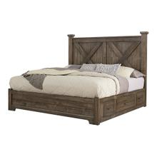 Cool Rustic Collection - X Bed -  Side Storage - Mink
