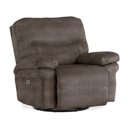 LEYA Power Tilt Headrest Swivel Glider Recliner in Elk Fabric
