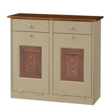 Double Trash Bin Cabinet with Tin