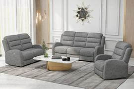 Harvey Power Reclining Sofa & Loveseat W/Power Headrest Grey