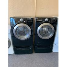 Refurbished Black LG Front Load Washer Dryer Set on pedestals. Please call store if you would like additional pictures. This set carries our 6 month warranty, MANUFACTURER WARRANTY AND REBATES ARE NOT VALID (Sold only as a set)