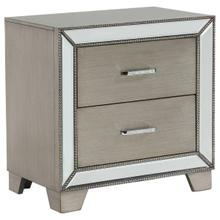 See Details - CrownMark Cosette Night Stand, Gray-Gold w/mirror accents, B76802