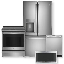"GE PROFILE 27.7 Cu. Ft. French Door Refrigerator & 30"" Smart Slide-In Electric Convection Range Package"