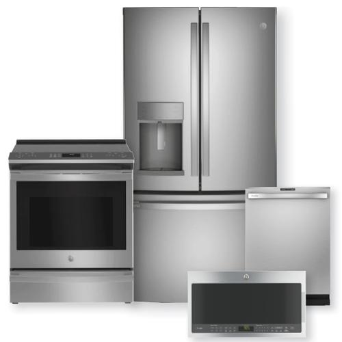 """GE PROFILE 27.7 Cu. Ft. French Door Refrigerator & 30"""" Smart Slide-In Electric Convection Range Package"""