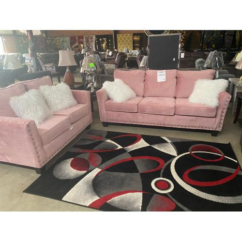 Gallery - Mongolian Pink Sofa and Loveseat