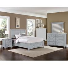 See Details - King Gray 4 PC Bedroom Set - Panel Bed with Storage Footboard
