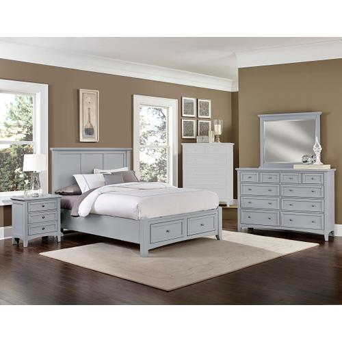 King Gray 4 PC Bedroom Set - Panel Bed with Storage Footboard