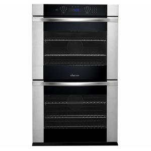 """Dacor - Renaissance 30"""" Double Wall Oven in Black Glass with vertical stainless steel trim - ships with Millennia Style brushed stainless steel handle."""