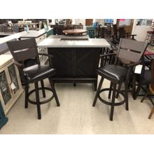 See Details - $849.95 SPECIAL BUY! BAR SET. BAR AND TWO BARSTOOLS. LIMITED STOCK!