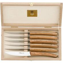 Claude Dozorme Stainless Steel Le Thiers Classic 6-Piece Steak Knife Set with Olive Wood Handle