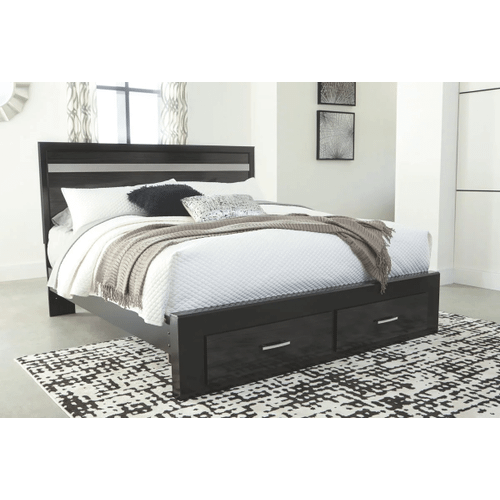 Starberry- Black- King Panel Bed with 2 Storage Drawers