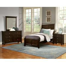 Twin Merlot 4 PC Bedroom Set - Sleigh Bed