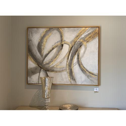 Tyndall Furniture & Mattress - Gold and Grey Canvas Wall Art
