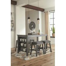 Caitbrook - Dark Gray - 5 Pc. - Rectangular Counter Table & 4 Upholstered Stools