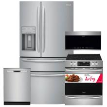 See Details - FRIGIDAIRE 21.4 Cu. Ft. Counter-Depth 4-Door French Door Refrigerator & 30'' Electric Range with Air Fry 4 Pc Package- Open Box