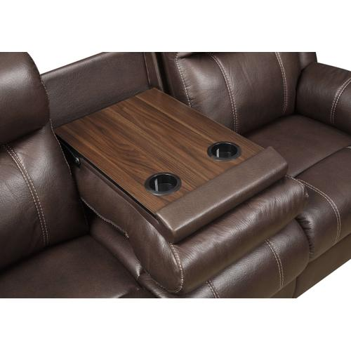 Domino Reclining Sofa with Table Valor Chocolate