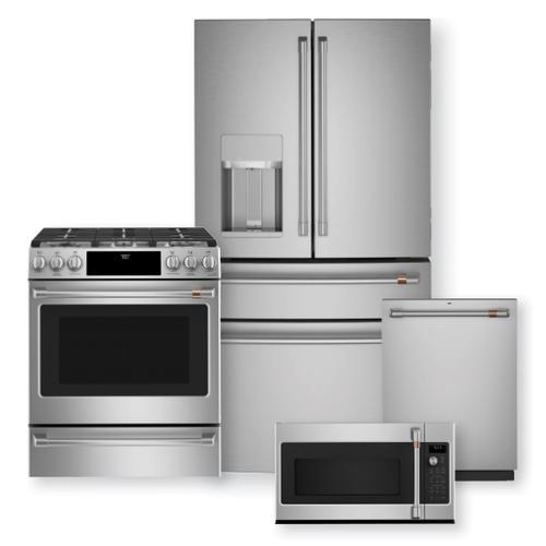 """CAFE 27.8 Cu. Ft. Smart 4-Door French-Door Refrigerator & 30"""" Slide-In Gas Range w/ Convection Oven Package"""