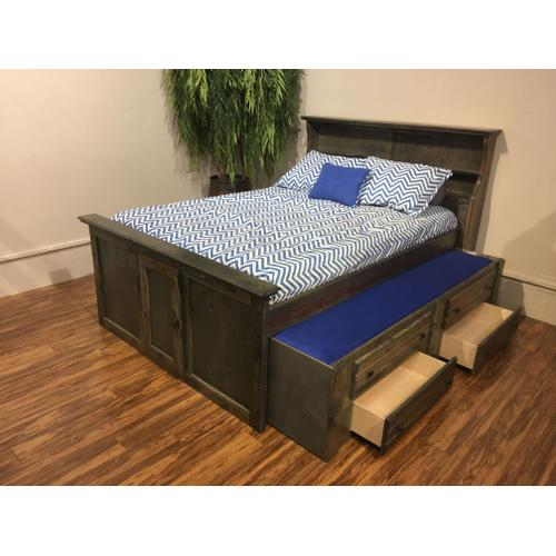 """Full Captains Bed W"""" Trundle & Drawers Rustic Grey"""
