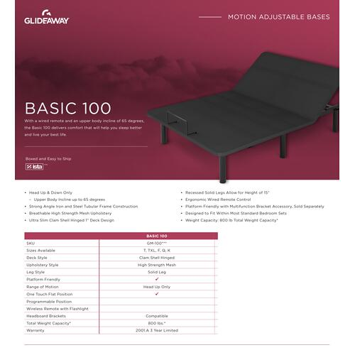 Glideaway - GLIDEAWAY GM100 Adjustable Comfort Livestyle Base
