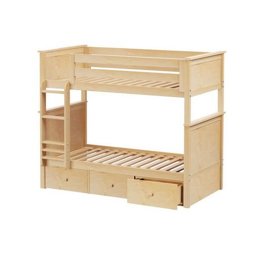 Jackpot Bristol Twin/Twin Bunk   3 Drawer Storage In Natural Finish