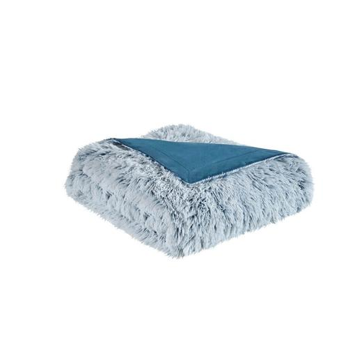 Emma Shaggy Teal Faux Fur Throw (50w x 60l)