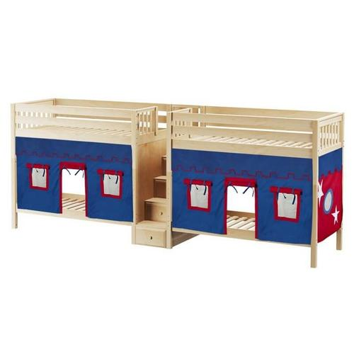 Quadruple High Bunk Bed with Staircase & Curtain In Natural Finish