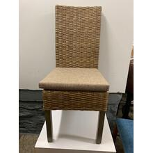 Wicker Side Chair with Cushion Seat