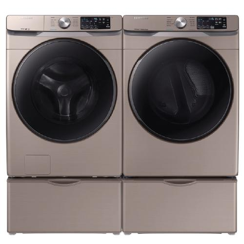 Samsung Steam 4.5 Cu.Ft. Front Load Washer & 7.5 Cu.Ft. Electric Dryer with Pedestals - Champagne