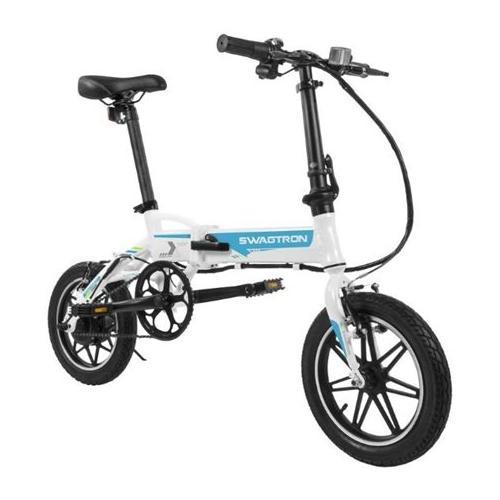 SWAGTRON EB5 Pro City & Campus Folding eBike, Pedal-To-Go - Blue