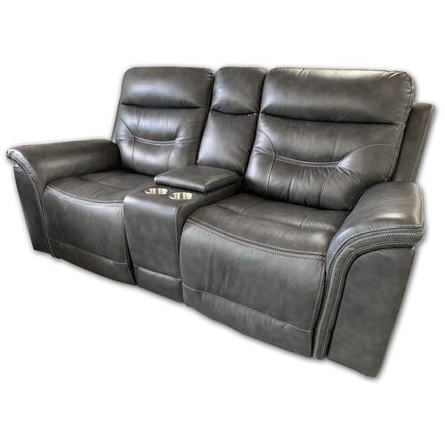 Genuine Leather Power Reclining Console Loveseat