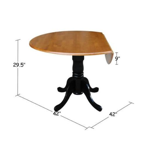 42 Round Drop Leaf Table - Black & Cherry
