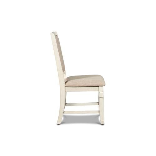 Prairie Point Cream Upholstered Side Chair in Cottage White Finish