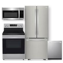 See Details - Stainless Steel 22 cu. ft. French Door Refrigerator & 6.3 cu ft. Smart Wi-Fi Enabled Electric Range- 4 Piece Package