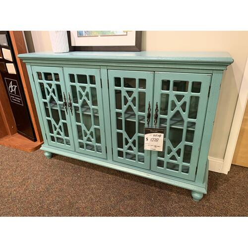 Teal Media Credenza 4 Glass Doors