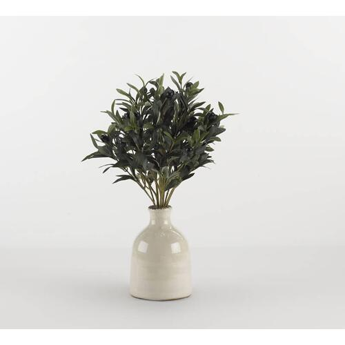 Olive spray in white ceramic bottle with tall neck