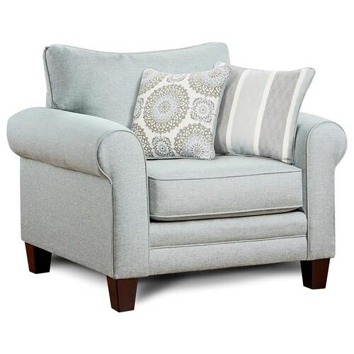 Fusion Furniture - Stationary Chair and a Half in Grande Mist Fabric