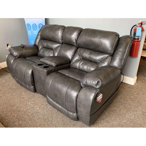 Homestretch - Weston Leather Loveseat - Power Reclining w.  Console