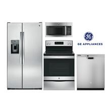 GE Kitchen w/ Side-by-Side Refrigerator in Stainless Steel