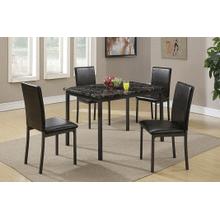 Sena - 5 PCS Dining Set - Marble/Black
