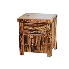 1 Drawer / 2 Door Nightstand Log Front Natural Panel Gnarly Log